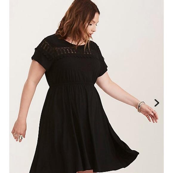1863f66d835 BNWT Torrid 4x Lace Inset Knit Black Skater Dress!
